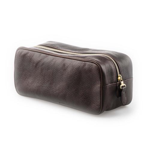 Leather Wash Bag in Dark Tan