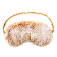 Chalet Affair Rabbit Fur Sleep Mask - Beige/Snow top
