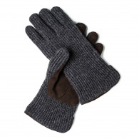 Doriani Cashmere and Leather Gloves in Charcoal