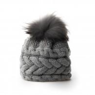 Inverni Plait Design Cashmere & Raccoon Fur Hat