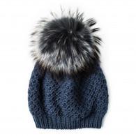 Inverni Inverni Cashmere & Raccoon Fur Knit Hat in Blue Grey