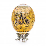 Greggio Ostrich Egg with Silver Base - Savanna