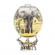 Greggio Ostrich Egg with Silver Base - Elephant