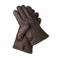 Westley Richards Men's Cashmere Lined Peccary Leather Gloves -Moro