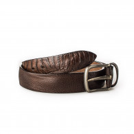 Post & Co. Men's Ostrich Leg Leather Belt - Corrosione