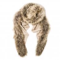Schneiders Ladies Fur Detail Scarf in Sand