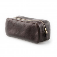 W. R. & Co. Leather Wash Bag - Dark Tan