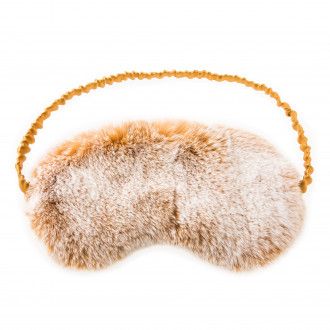 Chalet Affair Rabbit Fur Sleep Mask in Beige/Snow top