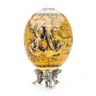 Greggio Ostrich Egg with Silver Base - Savanna