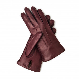 W. R. & Co. Ladies Leather Gloves with Cashmere Lining- Bordeau