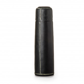Sol & Luna Hand Stitched Leather Covered Thermos in Black