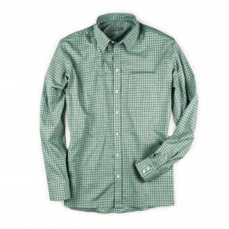 Westley Richards Men's Deluxe Tattersall Shirt in Green with Red