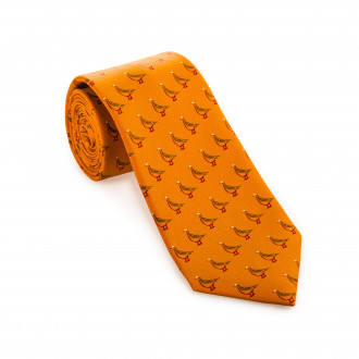Westley Richards Silk Grouse tie in Honey Gold Orange