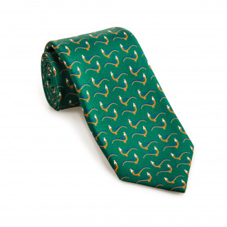 W. R. & Co. Silk Pheasant tie in Dark Green