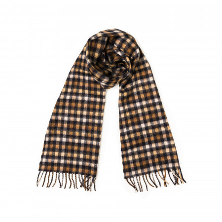 Westley Richards Pure Cashmere Scarf in Navy Shepherd Check