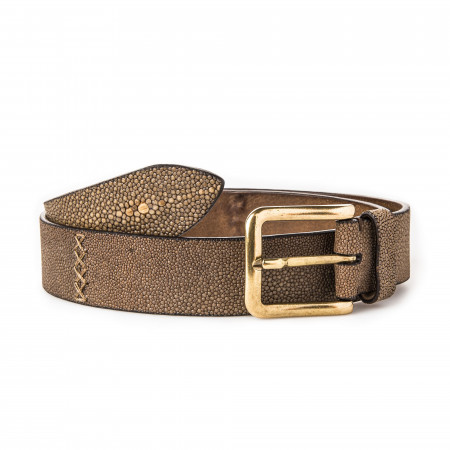 Post & Co. Men's Stingray Belt in Brown