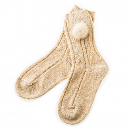 Cashmere Bed Socks with Mink Fur - Beige