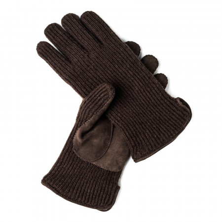 Cashmere and Leather Gloves in Hickory