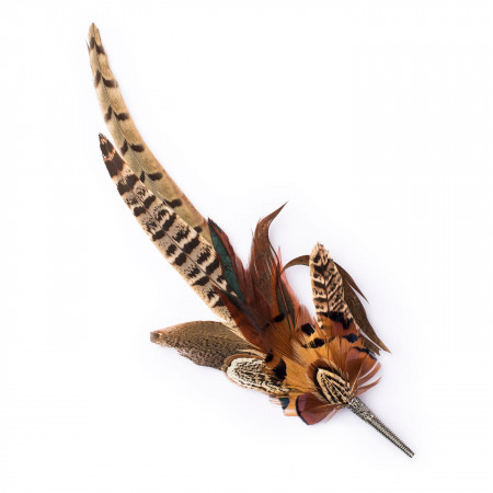 Westley Richards Orange & Brown Pheasant Feather Hat Pin
