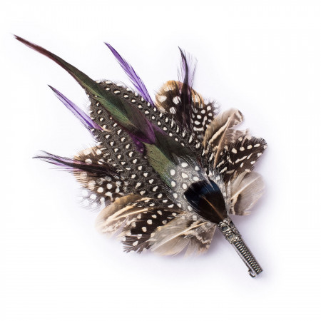 Guinea Fowl Feather Pin