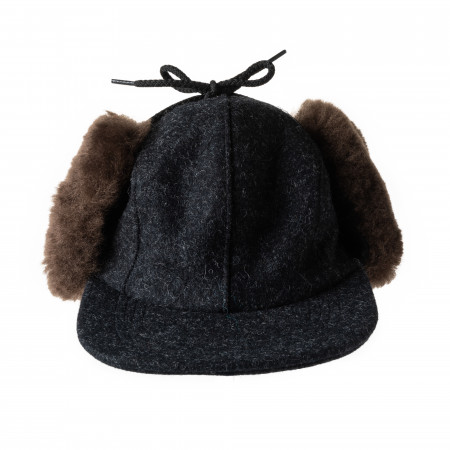 Double Mackinaw Cap in Charcoal & Brown