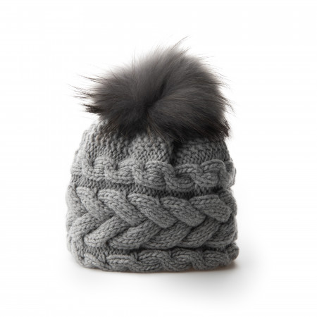 Inverni Plait Design Cashmere & Raccoon Fur Hat