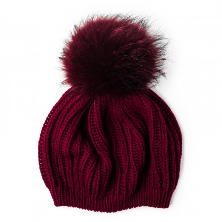 Cashmere & Raccoon Fur Knit Hat in Wine