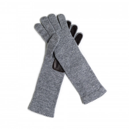Ladies Cashmere and Leather Gloves - Graphite