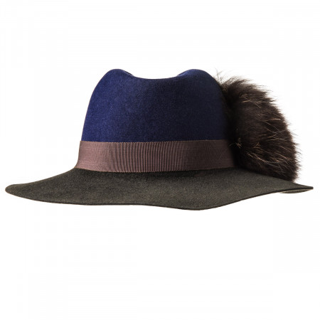 Ladies Florence Hat - Navy/Brown