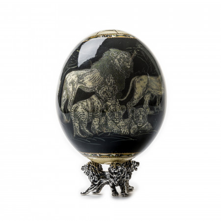 Ostrich Egg with Silver Base - Lions