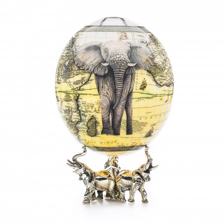 Ostrich Egg with Silver Base - Elephant