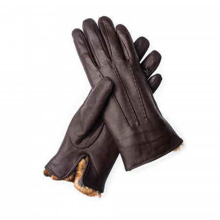 Ladies Leather Gloves with Rex Rabbit Fur in Brown