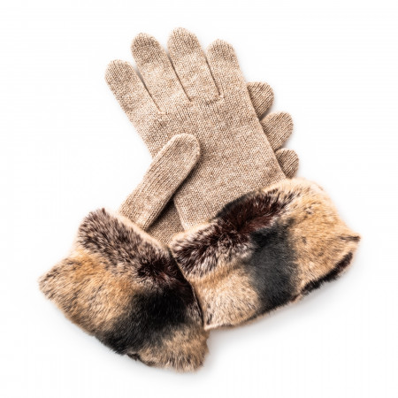Merola Ladies Cashmere and Rabbit Fur Gloves in Sand