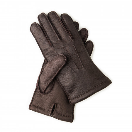 Men's Cashmere Lined Peccary Leather Gloves in Moro