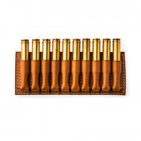 Small 10 Rd Open Ammunition Belt Wallet in Mid Tan