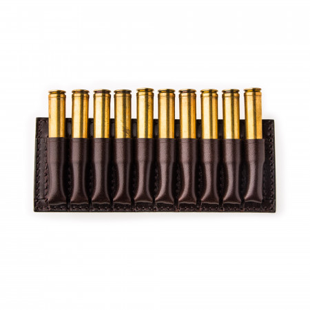 Small 10 Rd Open Ammunition Belt Wallet in Dark Tan