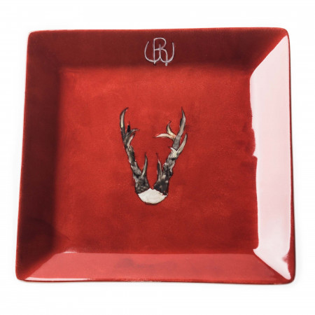 Westley Richards Porcelain Dish With Hand Painted Roebuck Antlers- Design 1