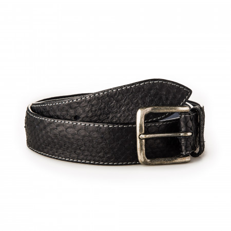 Men's Python Leather Belt - Black