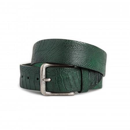 Post & Co. Men's Ostrich Leg Leather Belt in Green
