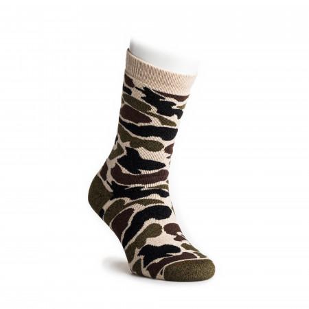 Camo Crew Socks in Beige