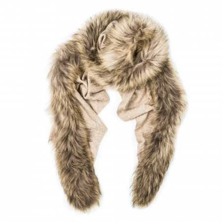 Ladies Fur Detail Scarf in Sand