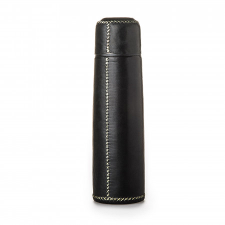 Hand Stitched Leather Covered Thermos in Black