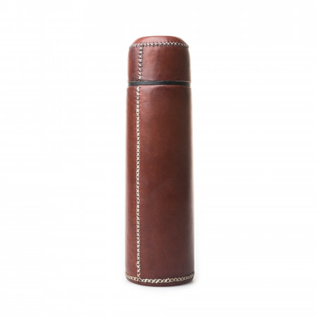 Hand Stitched Leather Covered Thermos 1L - Brown