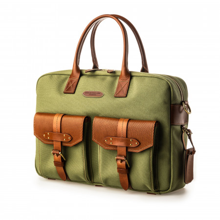Bournbrook Briefcase in Safari Green and Mid Tan