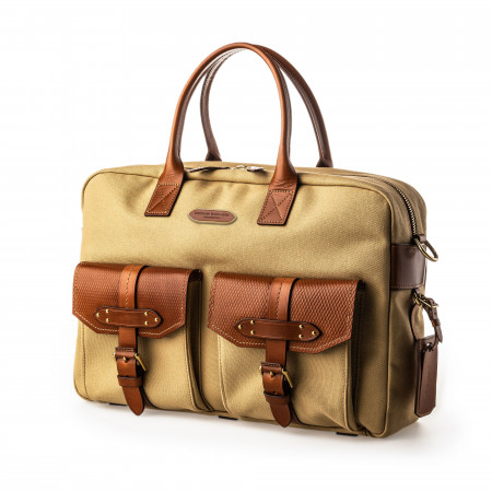Westley Richards Bournbrook Briefcase in Safari and Mid Tan