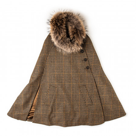 Ladies Fur-Trimmed Cape in Harris Check