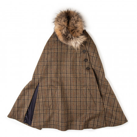 Ladies Fur-Trimmed Cape in Heritage Check