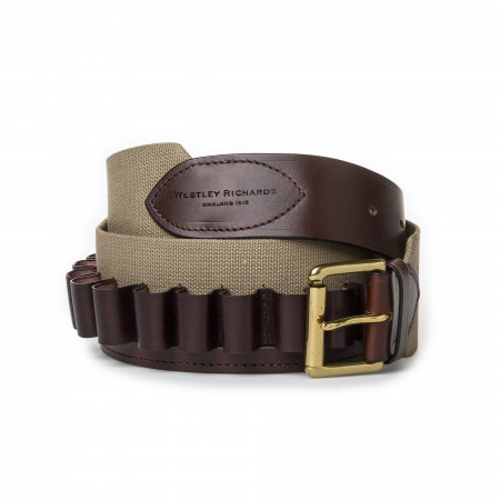 12 Gauge Cartridge Belt in Sand Canvas and Dark Tan