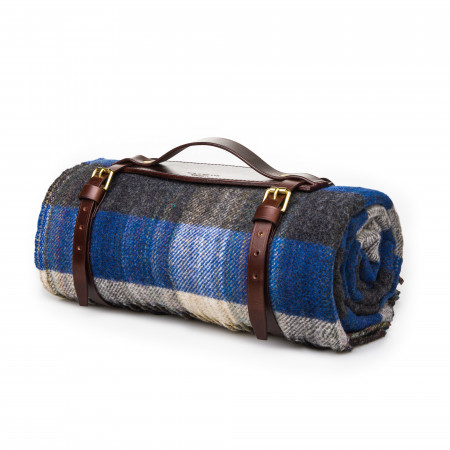 Wool Travel Blanket - Blue/Charcoal