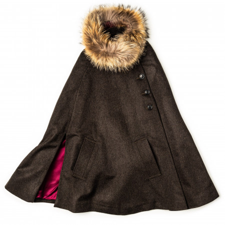 Westley Richards Ladies Fur-Trimmed Cape in Loden